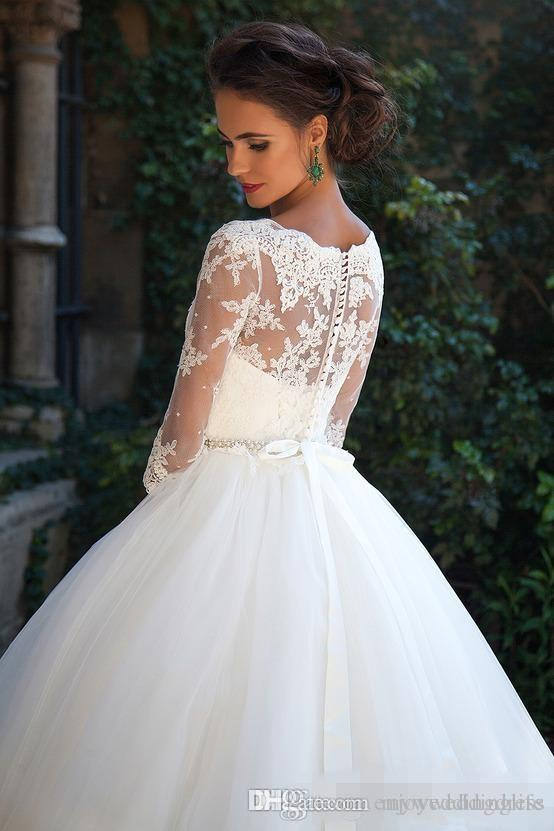 Country Vintage Lace Milla nova 2019 Wedding Dresses Half Long Sleeves Pearls Tulle Princess Ball Gowns Cheap Bridal Dresses Plus Size