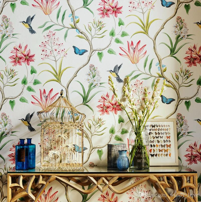 American Style Rustic Wallpapers Roll Vintage Floral Non Woven 3D Wall Paper Butterfly Bedroom Birds Decals Wallpaper Bird