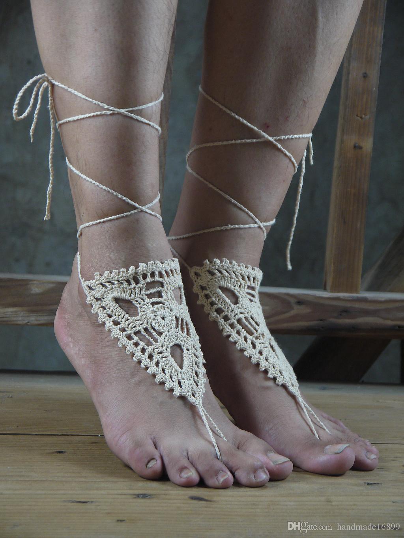 Beige fellow crochet barefoot sandal,Crochet shoes sandal,Wedding barefoot sandal,Beach shoes,Bridesmaid barefoot,Foot thongs