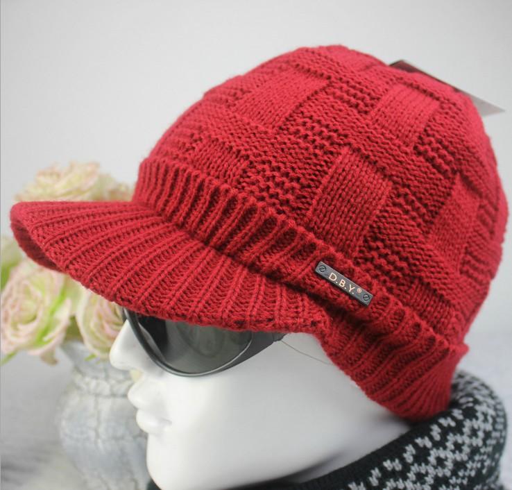 2016 Men's Warm Winter Wool Hat Men's Outdoor Knit Sports Beanies Skullies Thick Fashion Winter Knitting Caps ZJ-66