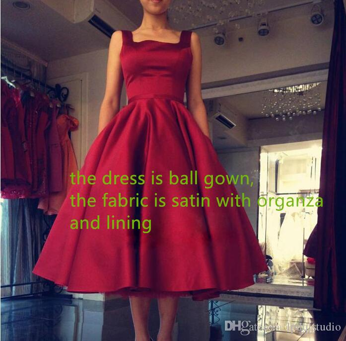 Sexy Backless Robes de bal en satin Robes de soirée Scoop sans manches thé longueur Big Bow Party robe rouge foncé, bleu Royal, robe de bal de Champagne