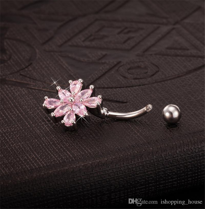 La mayoría de la moda Blanco Oro Botón Botón Anillos Rosa Cristal CZ Flor Joyería Negal Bar Barra Piercing Anillo Joyería Br-002