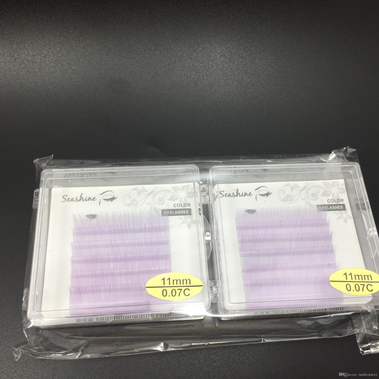 Lagre stock C curl 0.07mm color eyelash extensions purple color individual lash volume eyelsh false lash faux mink eyelashes