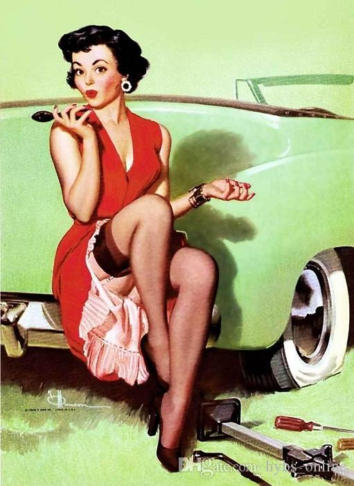 2018 Framed Car Trouble,Pure Hand Painted Gil Elvgren Pin Up Girl ...