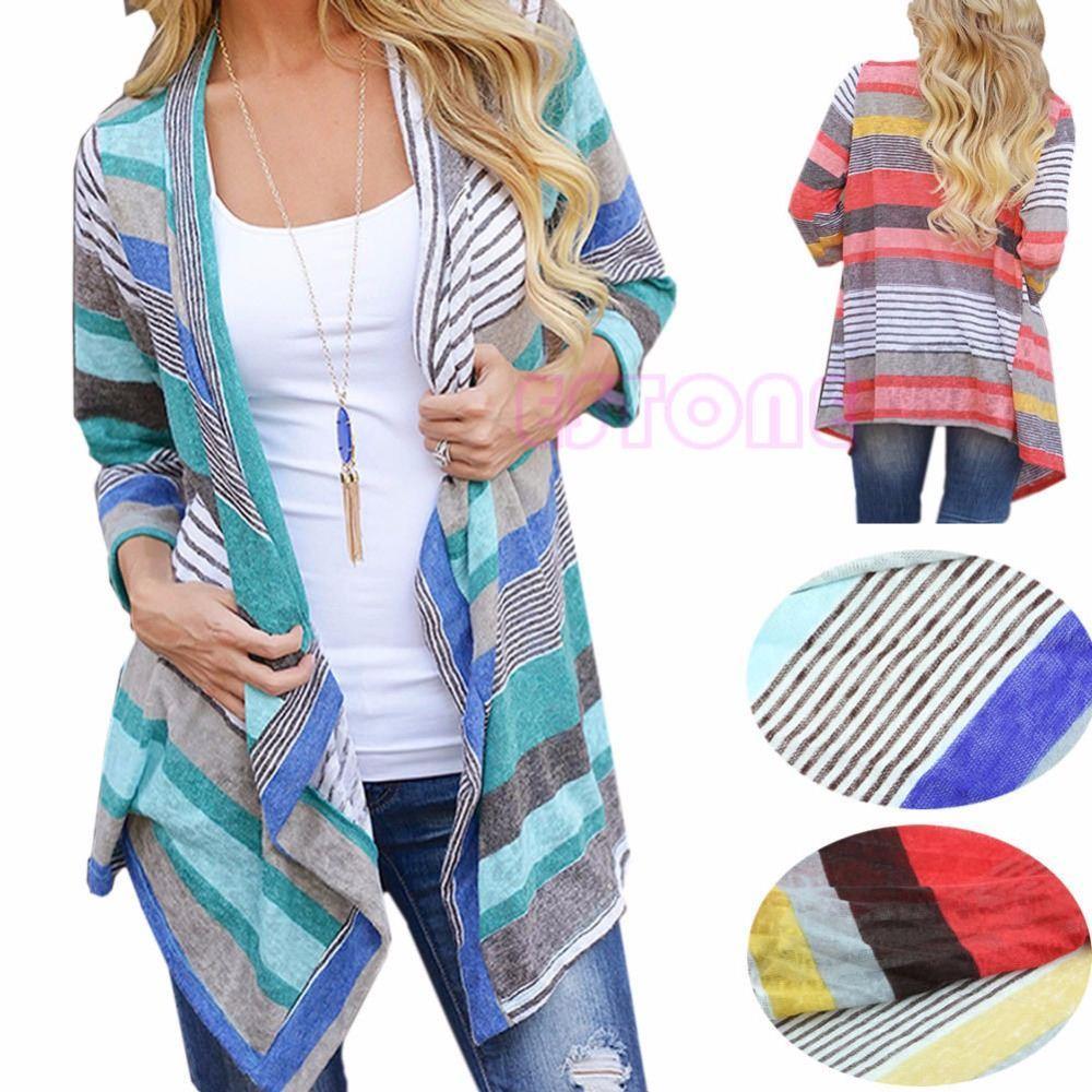 2017 Boho Womens Long Sleeve Cardigan Loose Sweater Outwear ...