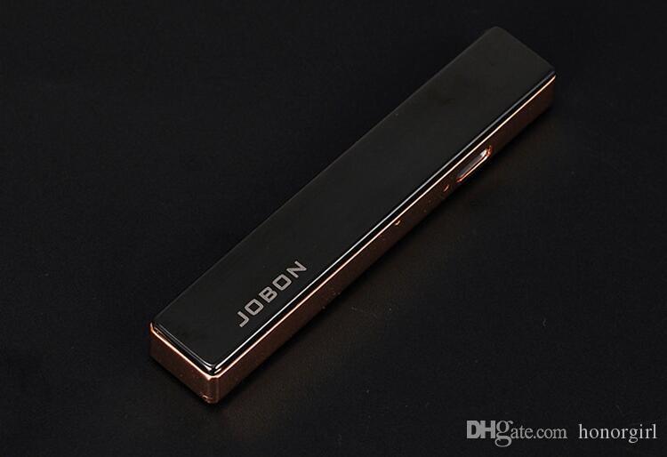 USB Recharge Ultra-mince Coupe-Vent En Métal Briquets Rechargeable Fumeur Cigarette Électronique Briquet Pour Hommes Et Femmes Mode Cadeau Jobon