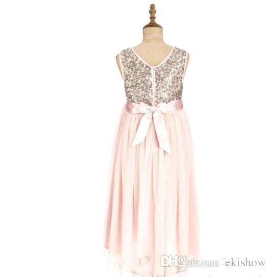 2017 erröten Rosa Blume Mädchen Kleider für Hochzeiten Gold Pailletten Tee Länge Tüll Juwel Eine Linie Strand Kinder Formelle kleidung Junior Brautjungfer Kleid