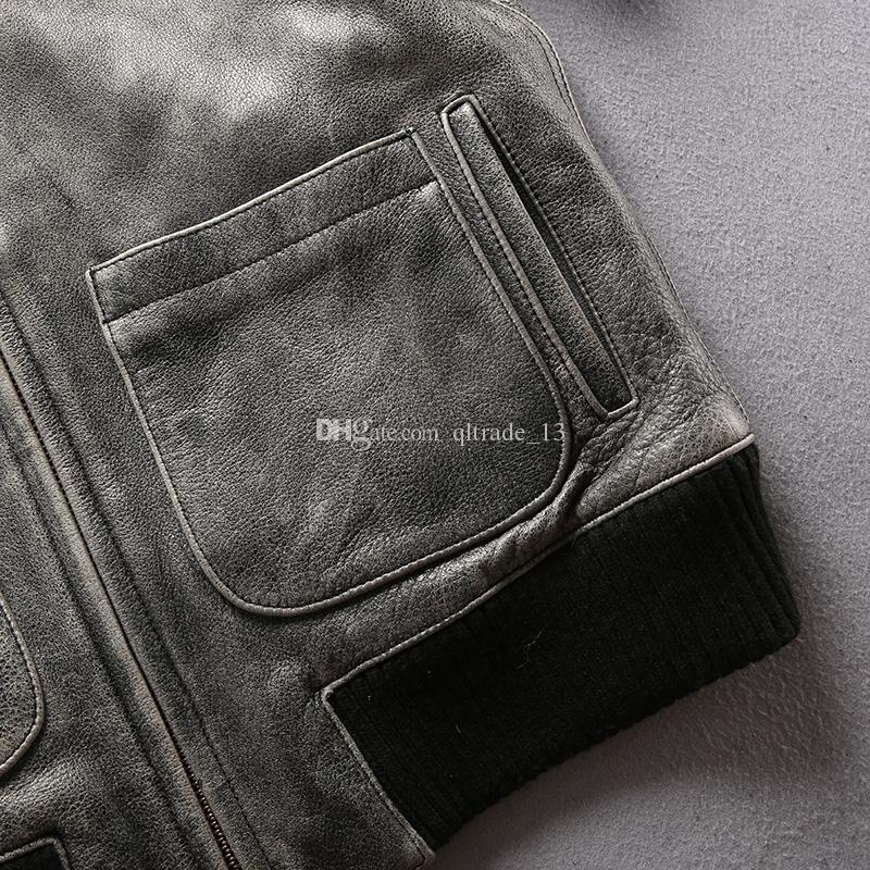 Avirex vintage gris mosca chaquetas de cuero de vaca 100% cuero genuino collar de vuelo chaquetas bomber de vuelo