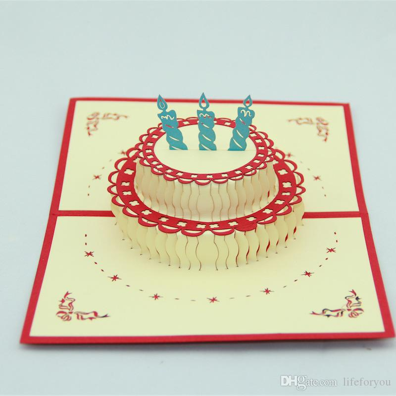 3d Greeting Card Birthday Cake Cards Bessing Cards Pop Up Greeting