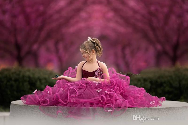 Navio livre Bonito Princesa vestido de Baile Flor Meninas Vestidos de Espaguete Sem Mangas Em Camadas Feitas À Mão Flor De Tule Meninas Pageant Vestidos Navio Rápido