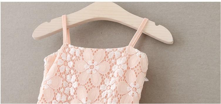 2016 Estate Bambini Ragazze Stereo Perla Fiori Pompon Pizzo Abiti Ragazze Pink Suspender Partito Principessa Abiti Abbigliamento B4185