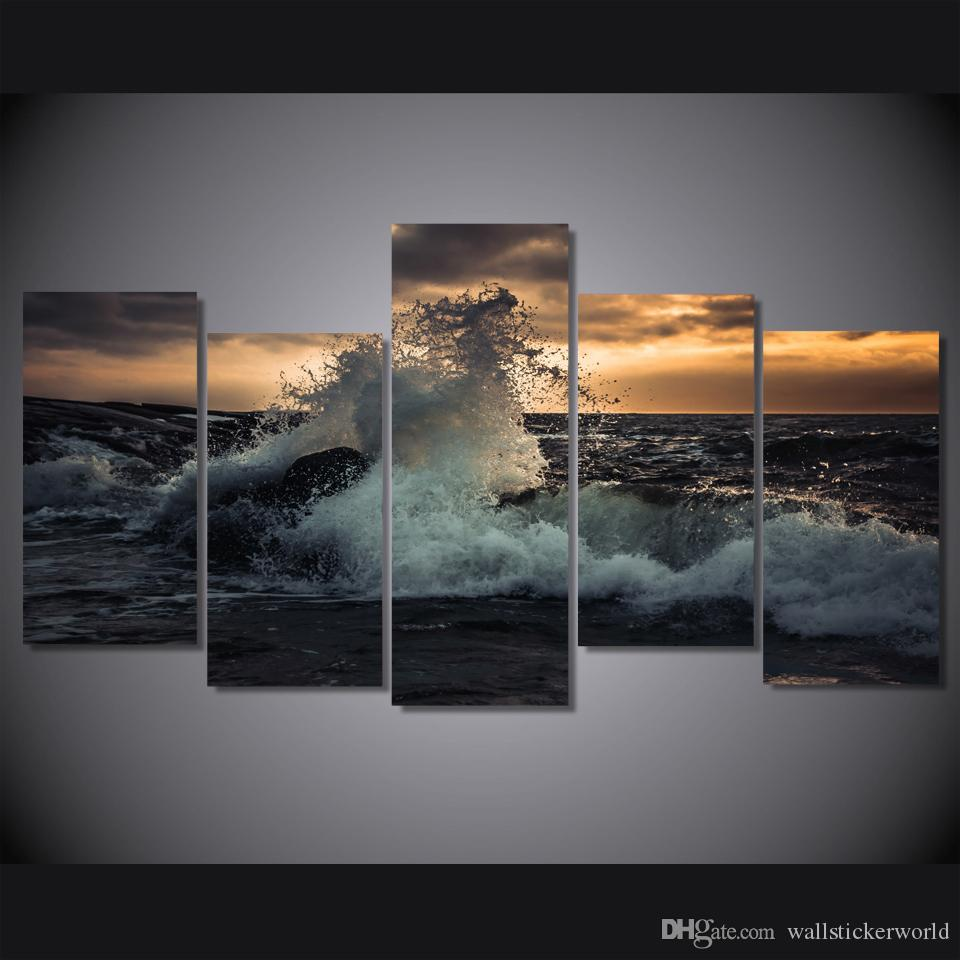 5 Pcs/Set Framed Printed The waves of the sea more volna noch Print room decor print poster picture canvas Free shipping/ny-4917