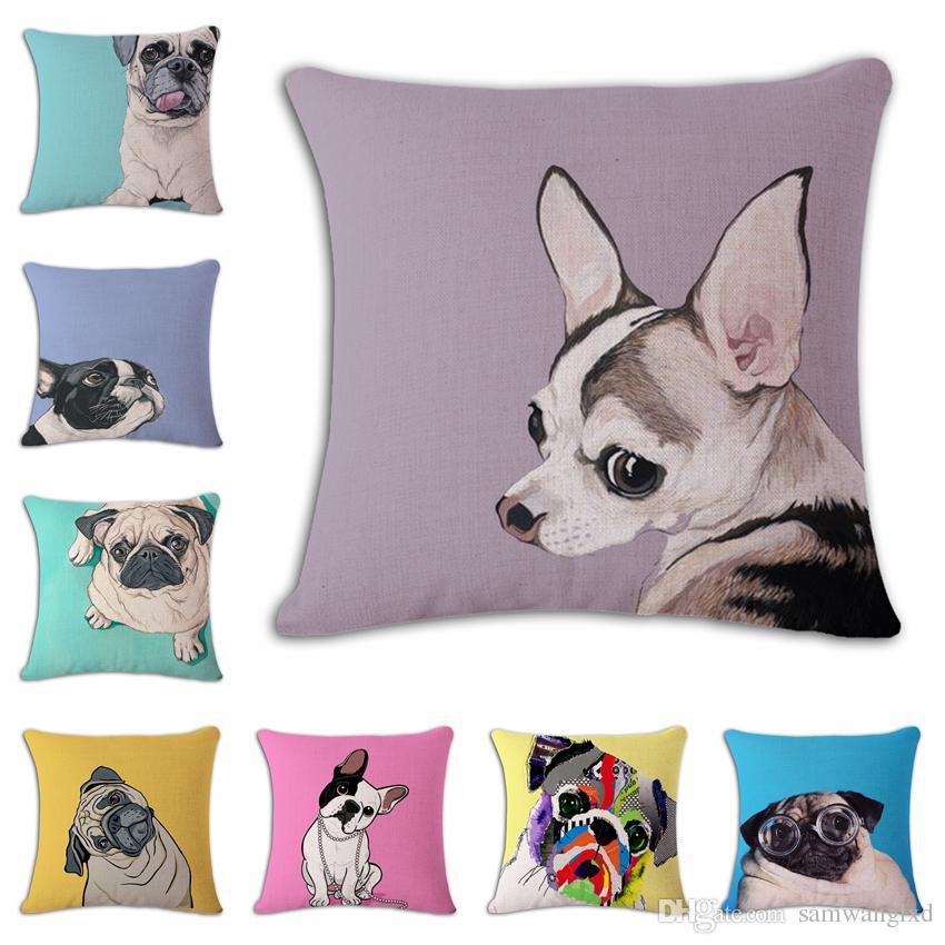 Home Decorative Pillow Case Pug Dog Design Cotton Linen Cotton Animal Printed Sofa Car Chair ...