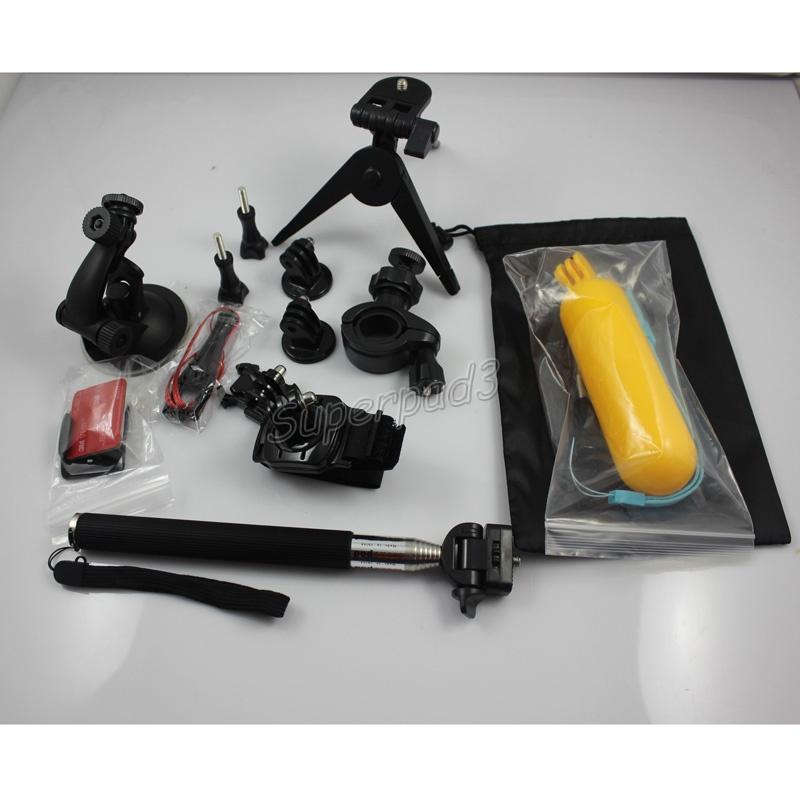 Barato Gopro trípodes Monopods 13 en 1 kit Set Mount Handheld Floaty Bobber + M Tamaño Funda de transporte para cámara de acción deportiva Hero