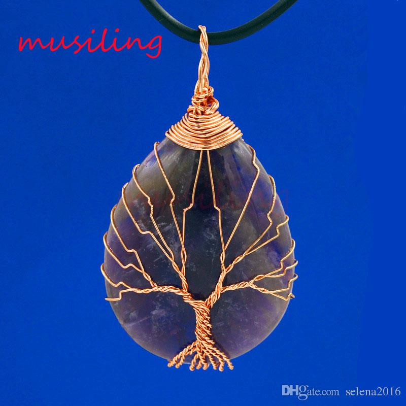 Pendant Pendulum Jewelry Natural Stone Amethyst Opal etc Rose Gold Plated Mascot Life Tree Water Drop Reiki Charms Amulet Men Jewelry