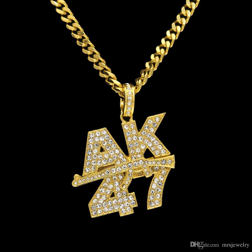 European Style New Arrived Gold Plated Hip Hop Bling Bling AK 47 Gun Weapon Jewelry Pendant Necklaces for Men Diamond Necklace NL017G