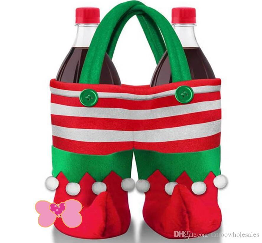 "lastest Christmas red/green 9.84""x7.08"" Elf sprite pant boot wine bottle drink bag gift bag for Table Decorations Xmas season Home Party"