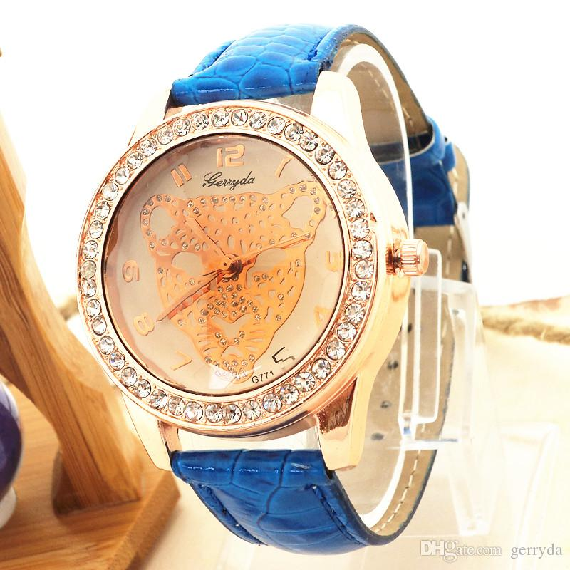 !PVC leather band,gold plating alloy case with rhinestone circle,leopard UP dial,gerryda fashion woman lady quartz watches,771