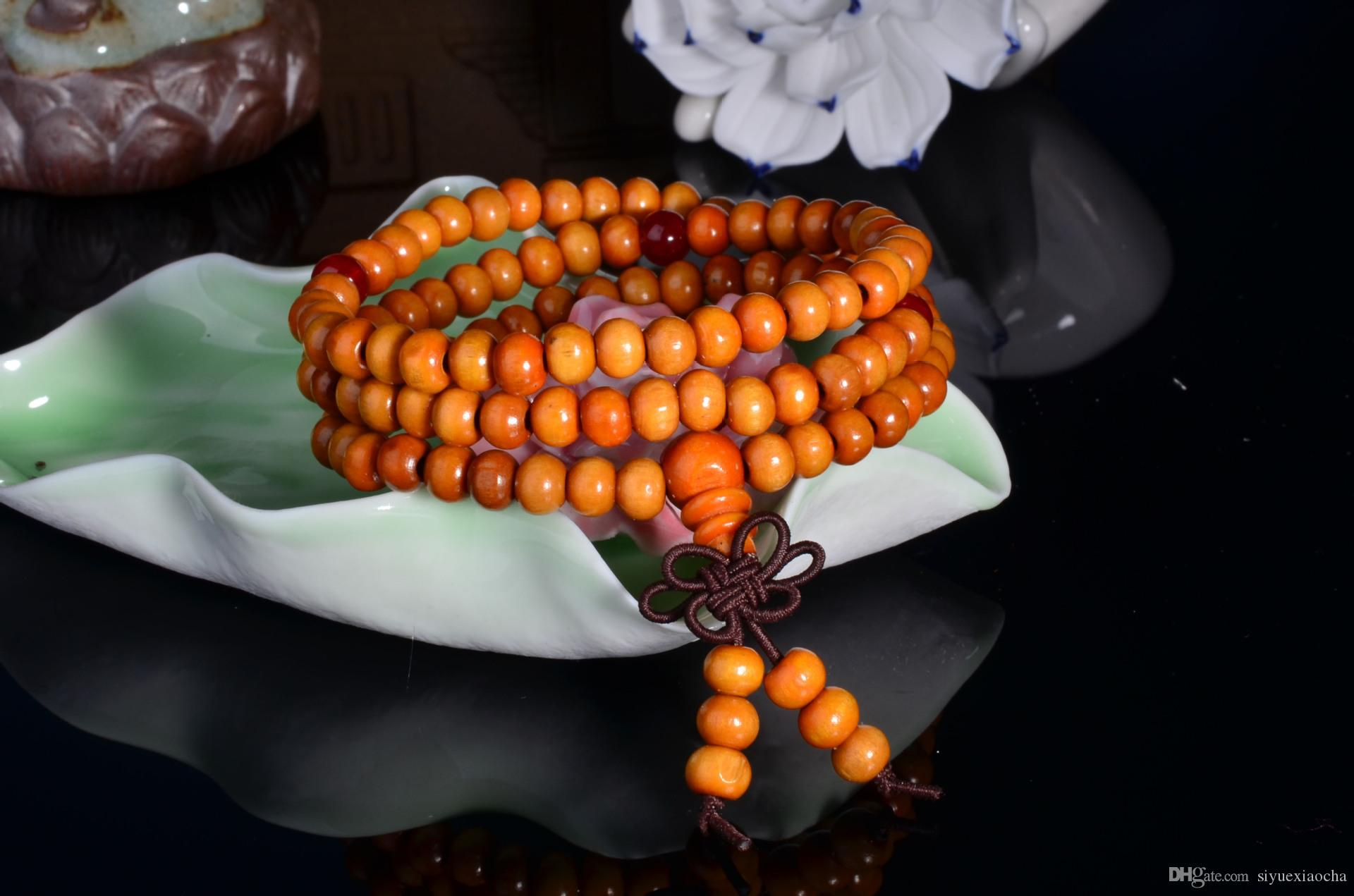 Fake red sandalwood Bracelet, 108 Buddha beads, 6mm and 3 circles, and high quality
