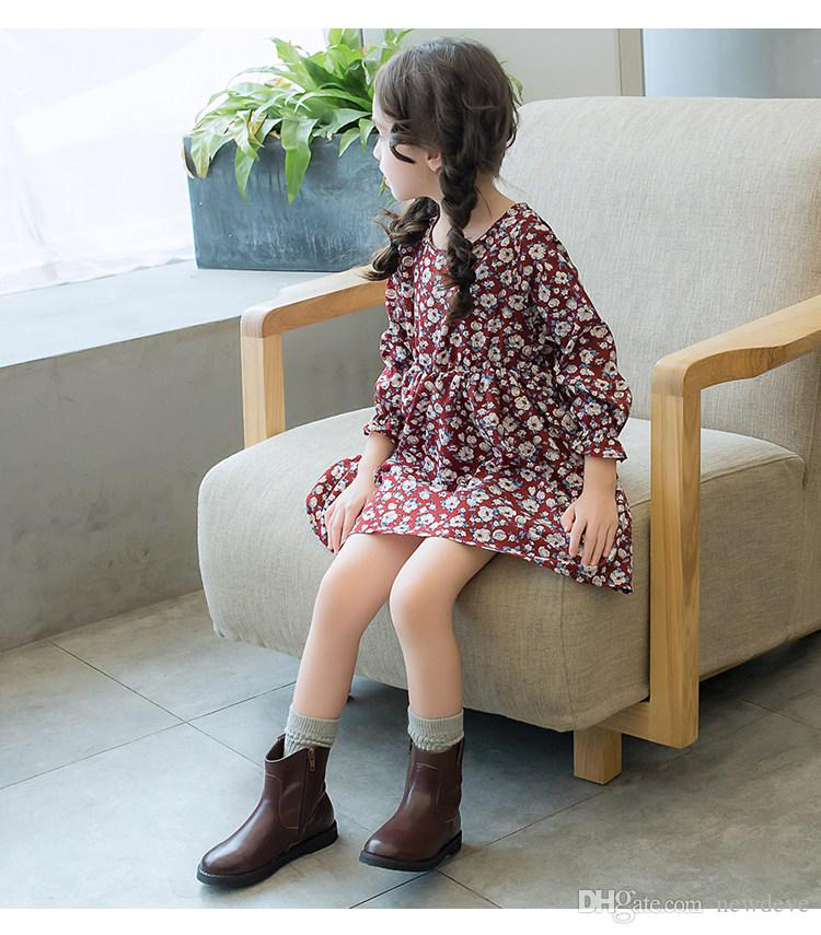 Lovely Round Toe Black Coffee Color Kids Shoes In Stock Leather Girls' Boots Children Formal Wear