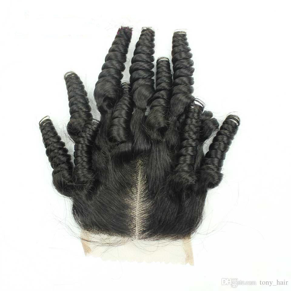 Virgin Malaysian Aunty Funmi Human Hair With Closure 100 Malaysian Romance Curls Funmi Hair 3Bundles With 4x4 Lace Closure