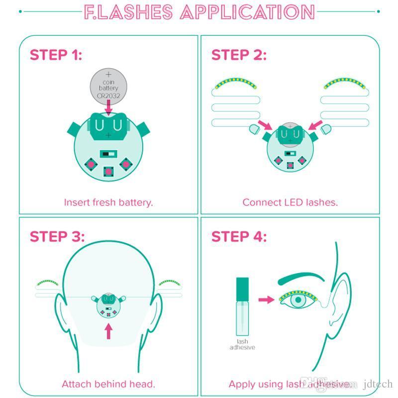 LED Flashing Eyelid False Eyelashes Eye Beauty Cosmetic Makeup False Eyelash For Party Costume Salon Pub Bar