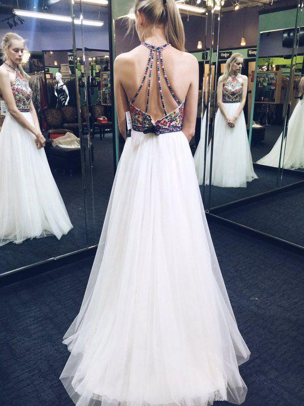 Squisito 2016 White Tulle Halter Prom Abiti lungo ricamo sexy floreale Criss Cross Back abiti del partito su misura EN10229