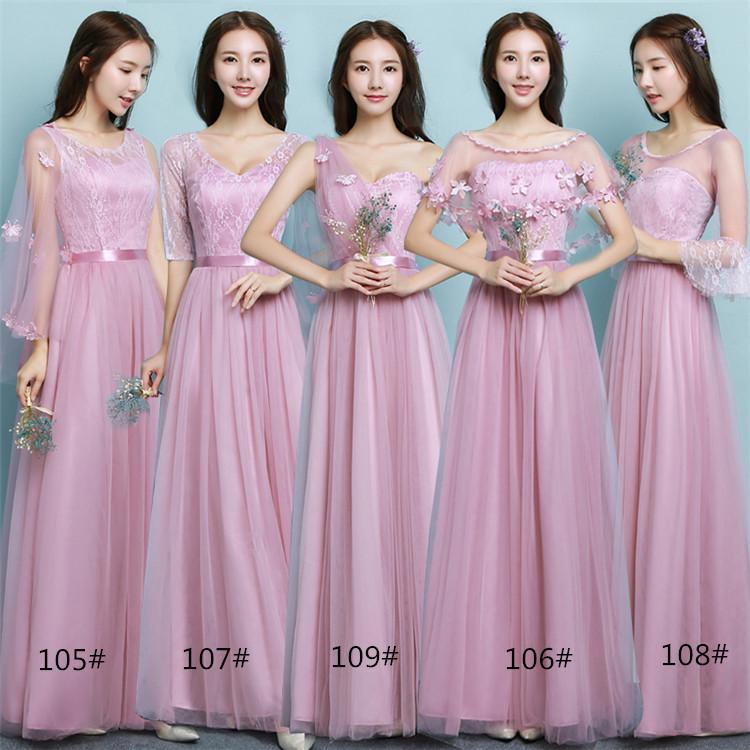 Grosshandel 2018 Neue Lange Rosa Hochzeit Brautjungfer Kleider Frauen