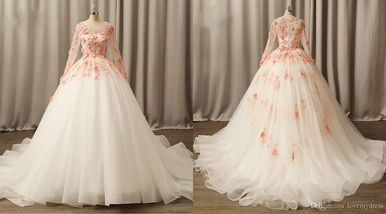 a6ce67b17c16e Romantic 2018 Coral Lace Flowers Wedding Dress Hollow Back With Long  Sleeves Sheer Neck Organza Wedding Bridal Dresses Gowns Plus Size Cheap Off  The Rack ...