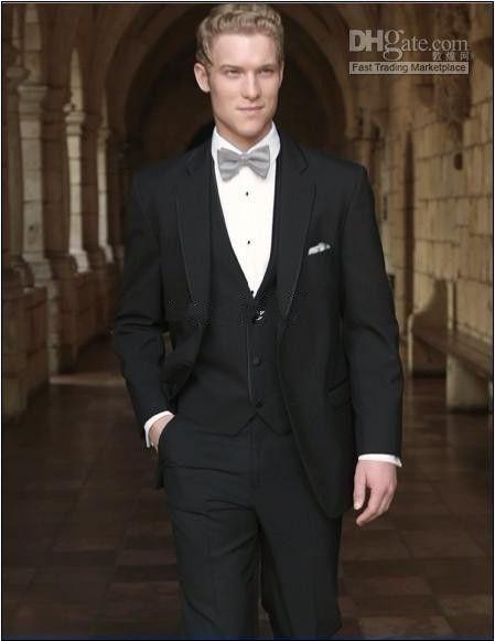 2 Buttons Black Groom Tuxedos Notch Lapel Groomsman/Men Suits Jacket+Pants+Tie+Waistcoat
