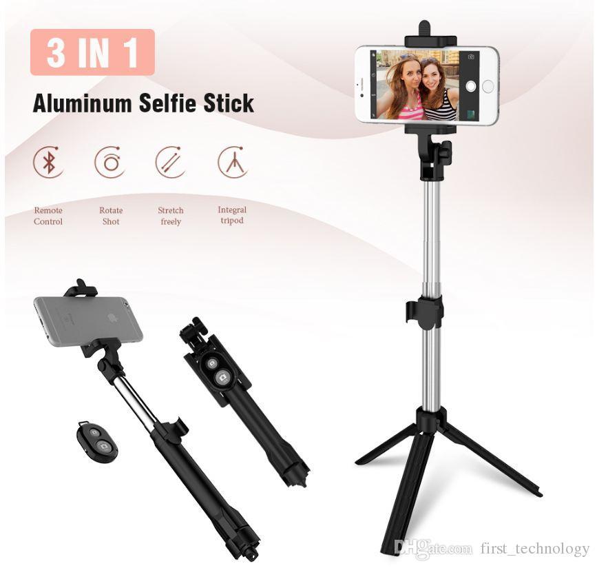 Foldable 미니 Selfie 스틱 블루투스 Selfie 스틱 + 삼각대 + 블루투스 셔터 리모콘 아이폰 x 8 7 안드로이드