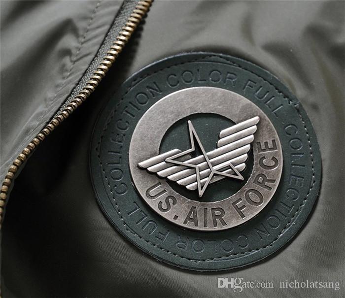 2016 Otoño Moda Marca Menú EE. UU. Fuerza Aérea 1 Chaqueta de aviación corta Cálido Bomber Army Chaqueta Verde Manteau Homme Army Military es