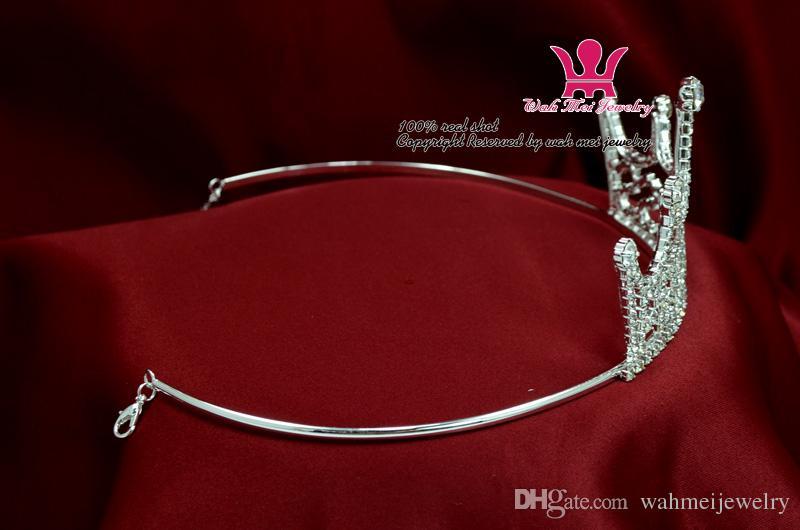 Verkauf Prinzessin Tiaras Beliebte Kronen Rosa Rose Strass Kristall Geburtstagsfeiergeschenk Hairwear Hübsche Mädchen Kinder Pageant Mo146
