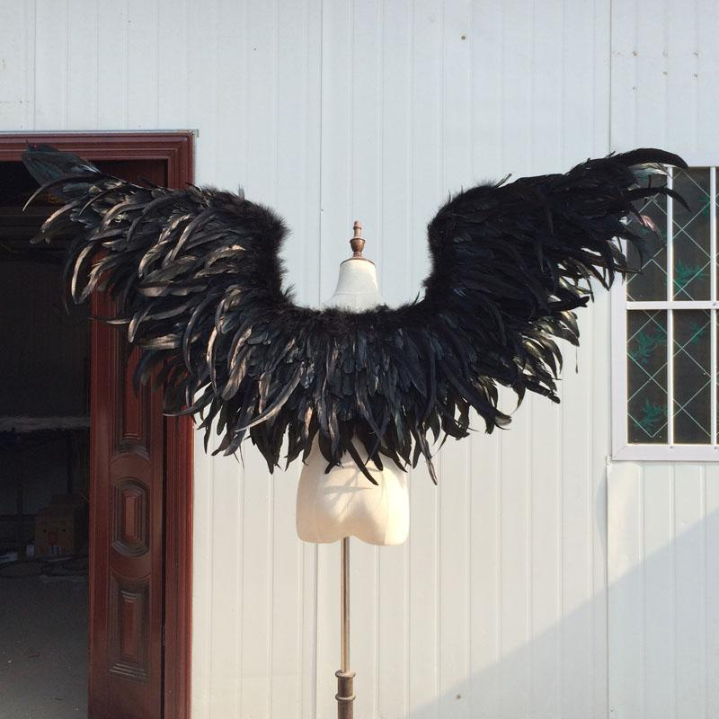 Customized Fashion Decoration props for wedding performance photography pure handmade Black large devil feather wings EMS