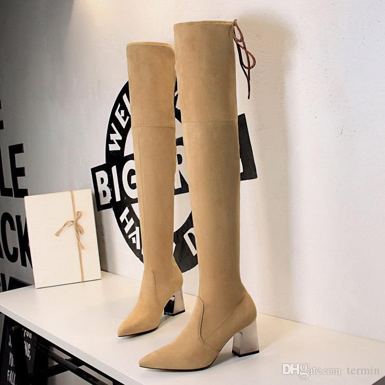 Sexy woman Long tube boots with high heel pointy sexy slim nightclub over women knee boots. XZ-091
