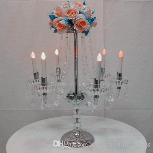 H60cm 7 arms Kristal Mumluk Mumluk düğün Centerpiece çiçek Vazo Mumluk kristal şamdan