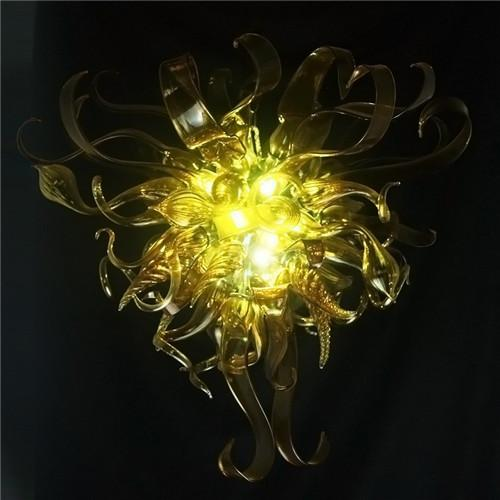 Yellow Pretty Flower Designed 100%Hand Blown Murano Glass Art Deco Crystal LED Chandelier Customized Lighting Fixture