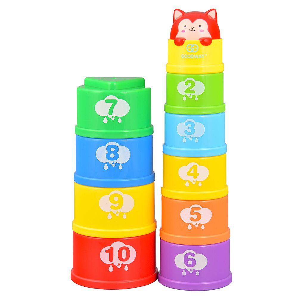 GOODWAY G108 Stacking Cups Learning Count Number Tower Bath Toy Toddlers Early Educational Hot Building Blocks Toys for Children