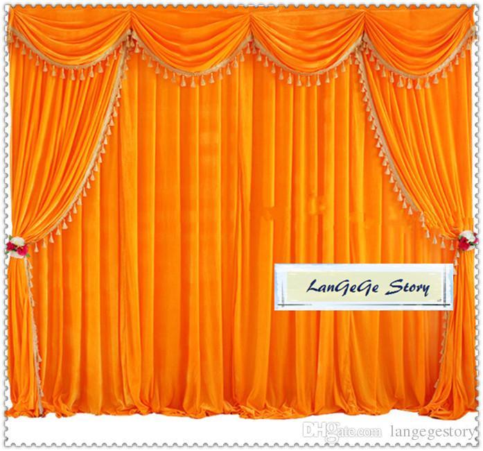 Красный бархат банкетный фон с swags и кисточкой отделкой/Золотой бархат шторы для партии /Бесплатная доставка/10 футов*10 футов