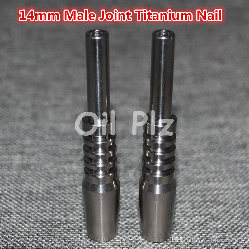 Universal Titanium Nail 14mm male titanium nails Adjustable Male joint Carb Cap nails for Glass Pipe Bong