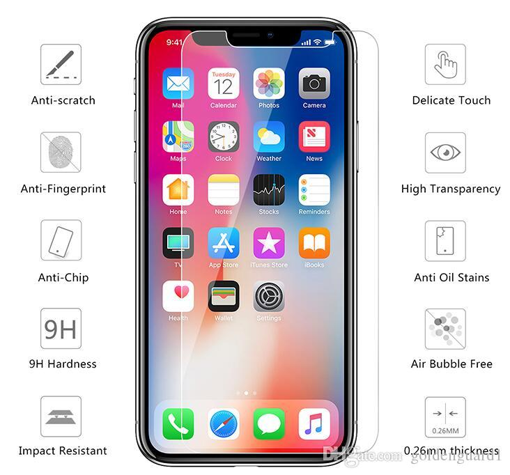 Tempered Glass For Iphone XS Max XR X 8 7 6S Plus 5S 4S Ipod Touch 6 5 Screen Protector Film 9H Anti Scratch 2.5D 0.26MM Temper Glass Guard