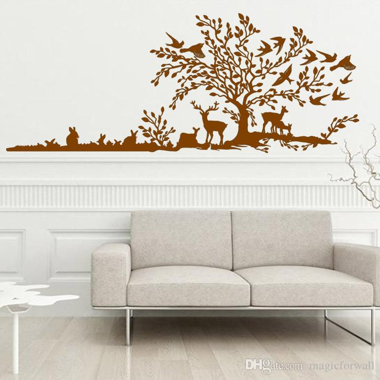 The Jungle Animals Hand Calligraph Wall Sticker Birds Rabbits Deer Large Tree Wallpaper Poster Living Room Bedroom Removable Wall Graphic
