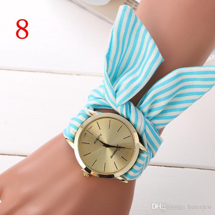 Relojes para las mujeres de las señoras reloj de pulsera de tela de flores de oro mujeres de moda vestido de relojes reloj de tela de alta calidad muchachas dulces mujeres vestido de reloj