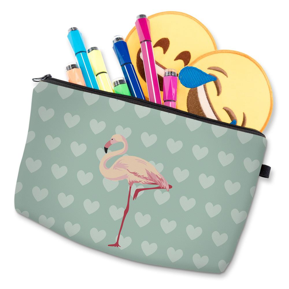 Deanfun 3D Printing Flamingo Cosmetic Bags Small Heart Cute Gift for Women Makeup Oraganizer 51056