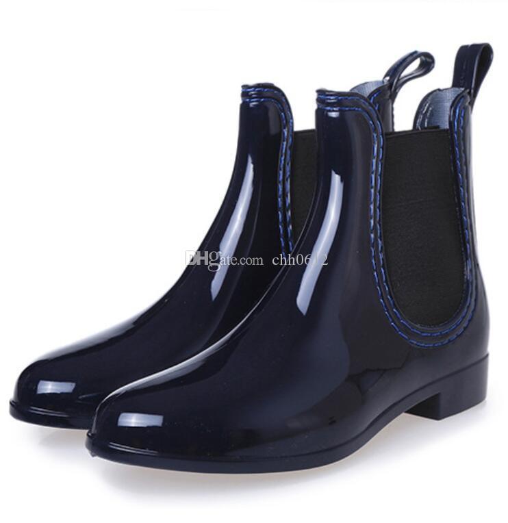 2017 Frühling Winter Rainboots Stiefeletten Regen Stiefel Gummiband Schuhe Frau Vollgummi Wasserdicht Wohnungen