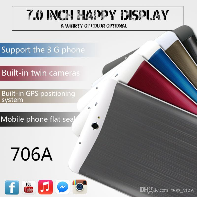 3G Tablet PC 7 pouces MTK6572 Dual core 512 Mo 8 G Phablet Tablets PC Android Bluetooth GPS wifi Double Caméra Avec des fentes de carte SIM appel téléphonique