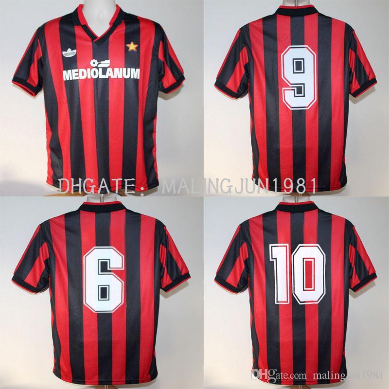 abf115918a Compre 91 92 AC Milan Retro Van Basten Camisa De Futebol Gullit Maldini  1991 1991 1992 Italia Baresi Camisas De Futebol Clássicas Do Vintage De ...