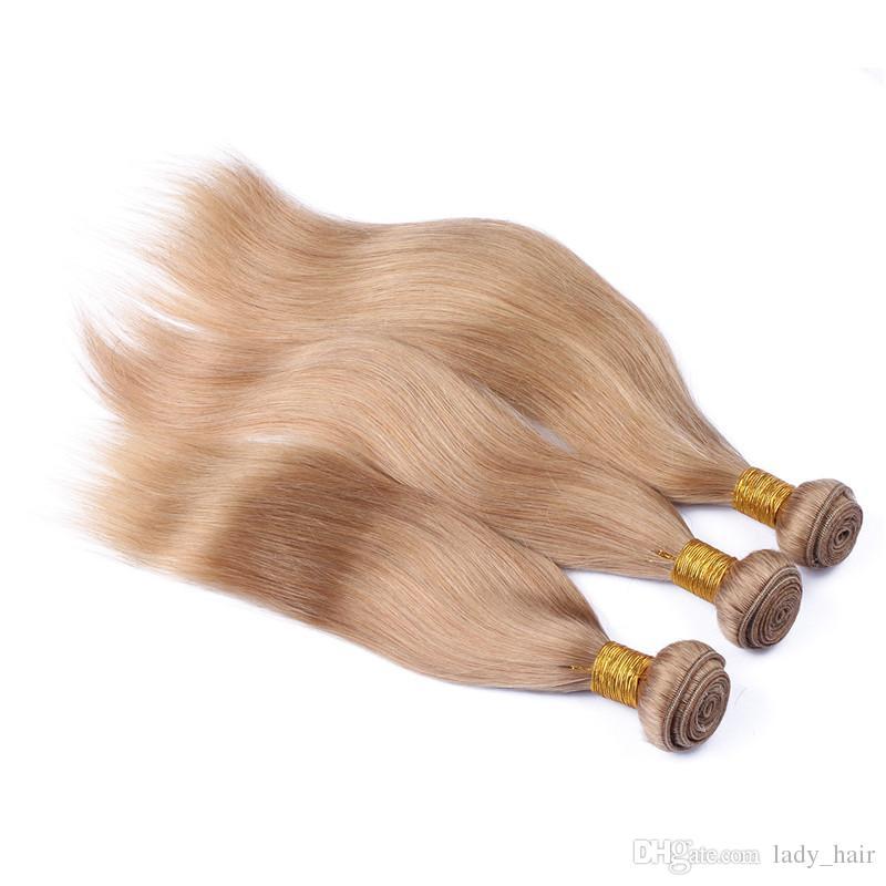 # 27 꿀 금발 말레이시아 인간의 머리카락 3Bundles 클로저 와 함께 4x4 레이스 클로저 부드러운 직선과 로터스 딸기 금발 머리 제직