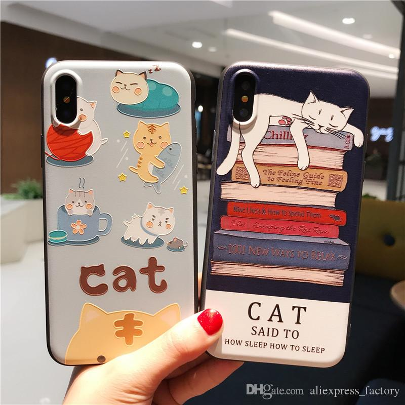cheap for discount 61867 abdd3 Funny 3D Cartoon Kitty Cat Phones Cases Silicone Squeeze Stress Relieve  Squishy Soft TPU Cover For iPhone X 8 7 Plus 6S 6 SE 5S 5 Cradle