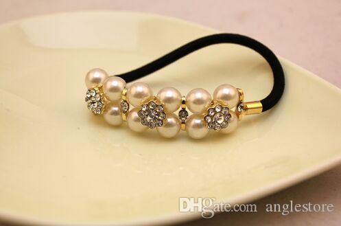 Moda Donna Ragazza pura perla e Austria Strass elastico accessori capelli coreano Corda Ponytail Holder coreano